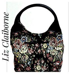NWOT'S Liz Claiborne Small Black Tapestry Handbag